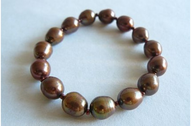 Bronze Oval Pearl Elasticated Bracelet