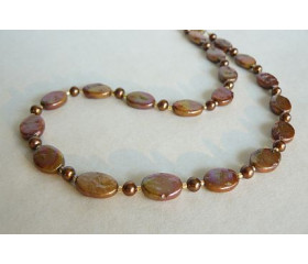 Bronze Flat Oval Pearl Necklace
