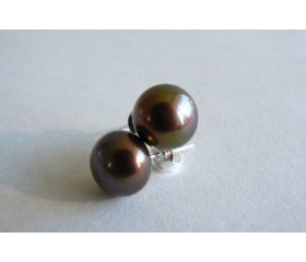 Bronze Pearl Stud Earrings - Medium