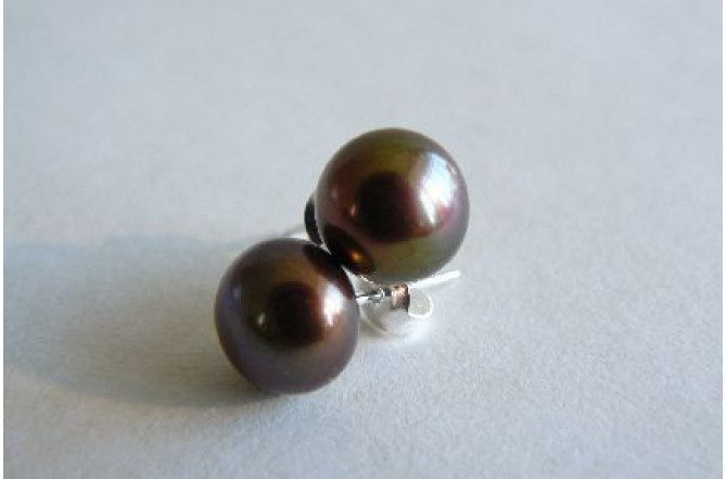 Bronze Pearl Stud Earrings - Medium