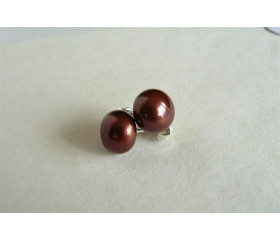Bronze Pearl Stud Earring - Large