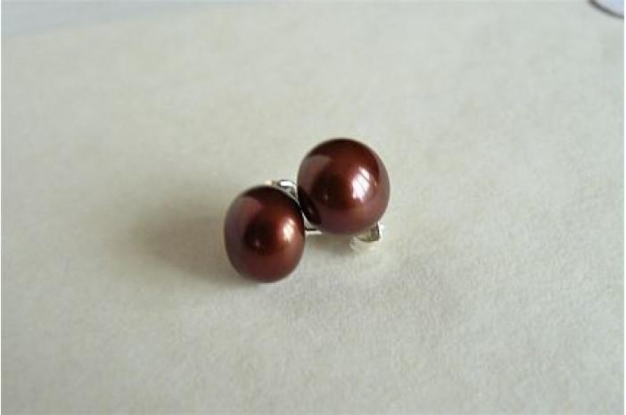 Bronze Pearl Stud Earring - Large