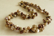 Bronze & Gold Keshi Pearl Twisted Necklace