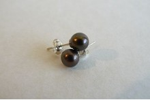 Dark Bronze Pearl Stud Earrings - Small