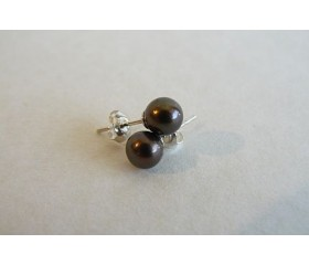Dark Bronze Pearl Stud Earrings - Small