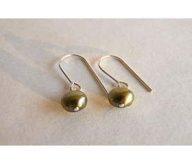 Olive Green Pearl Drop Earrings