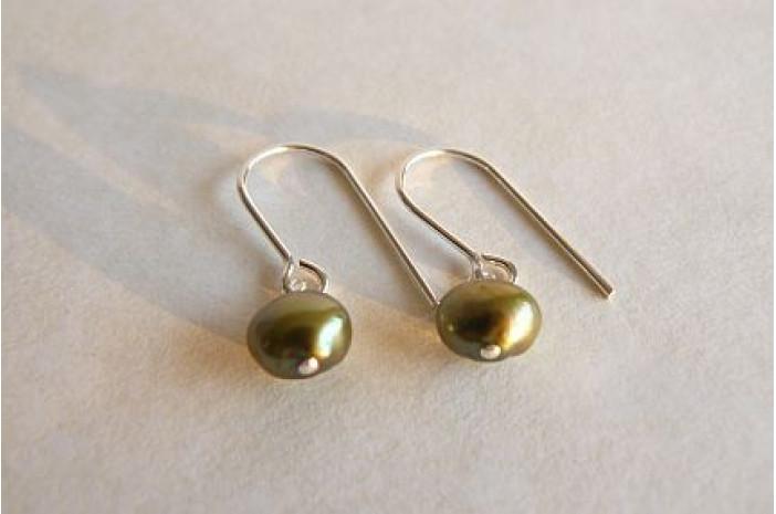 Olive Green Pearl Drop Earrings