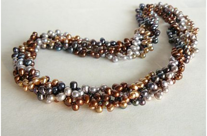 Four Strand Mixed Head-Drilled Pearl Twisted Necklace