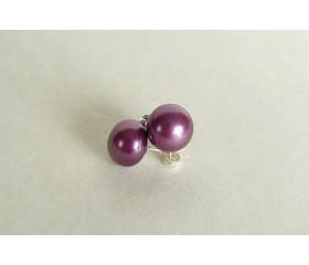 Dark Purple Pearl Stud Earrings - Large