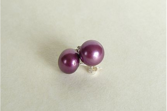 Dark Purple Pearl Stud Earrings - Large