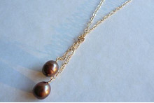 Bronze Pearl Drops on Gold Chain Necklace
