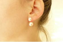 Double Pearl Stud Earrings