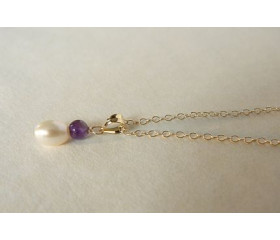 Children's White Pearl & Amethyst Pendant Necklace