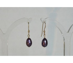 Purple Pearl Drop Earrings