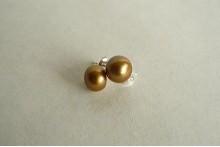 Gold-Mustard Pearl Stud Earrings - Small/Medium
