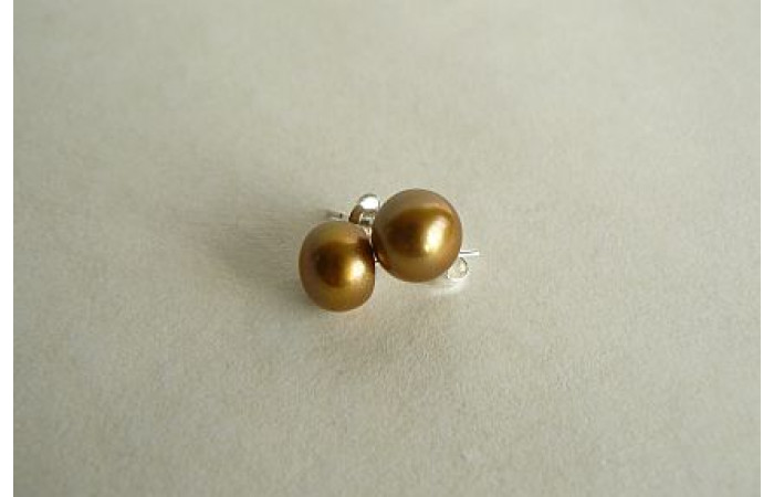 Gold-Mustard Pearl Stud Earrings - Small/Medium
