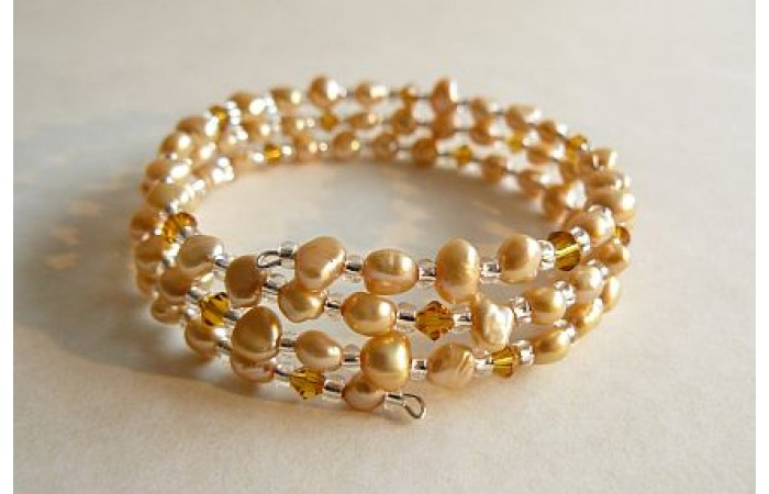 Gold Pearl Memory Wire Bracelet