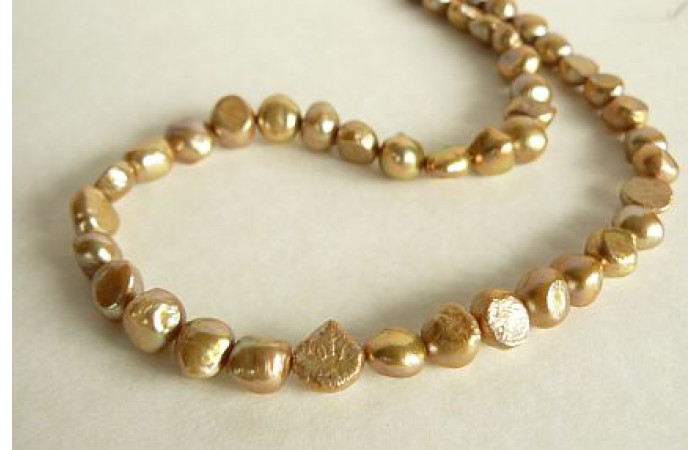 Champagne Gold Irregular Pearl Necklace