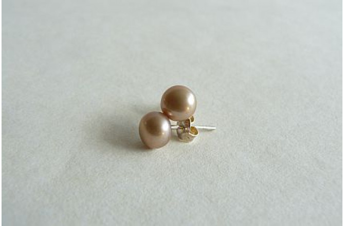Gold Pearl Stud Earrings - Small