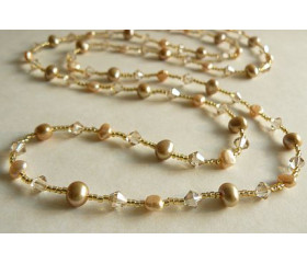 Tie or Wrap Gold Swarovski Crystal & Pearl Long Necklace