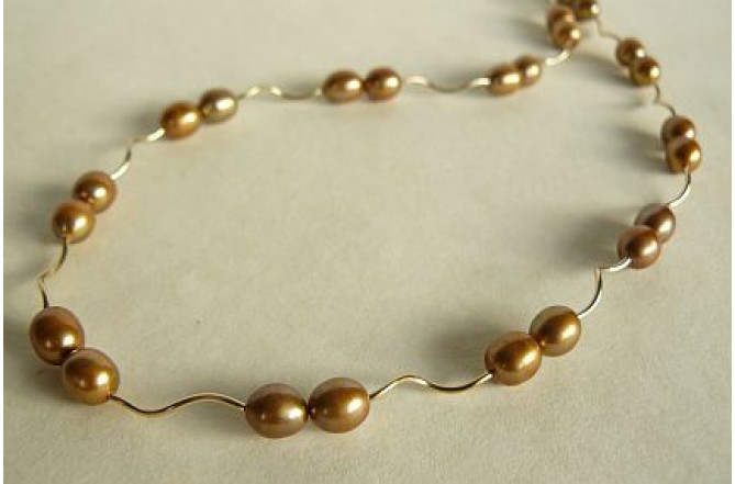 Gold Pearl & Spiral Tube Necklace