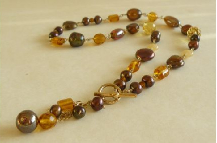 Bronze Bead & Pearl Gold Linked Necklace