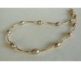 Champagne Pearl & Crystal Gold Curved Tube Necklace