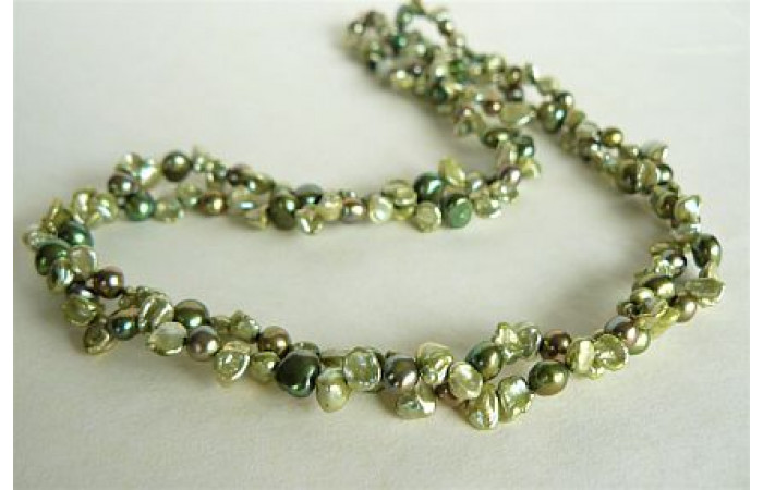 Green Mixed Keshi Pearl Two Strand Necklace