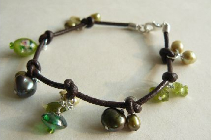 Green Pearls on Knotted Leather Bracelet