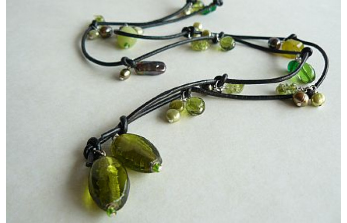 Green Lariat on Leather