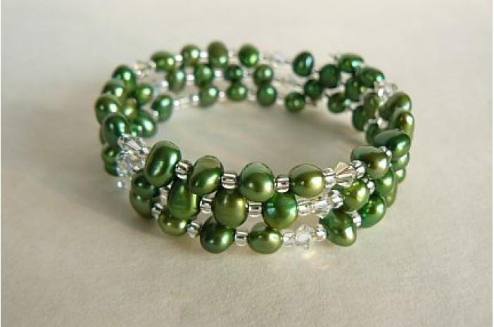 Green Pearl Memory Wire Bracelet