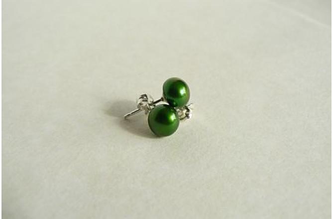 Green Pearl Stud Earrings - Small