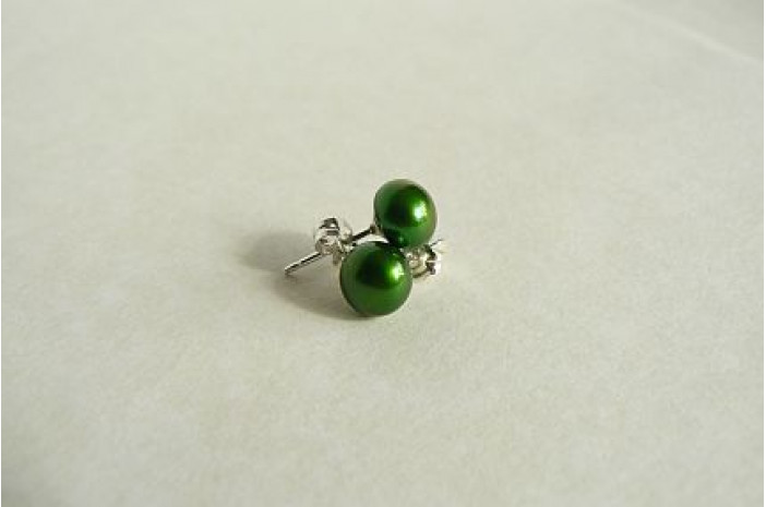 Green Pearl Stud Earrings - Small