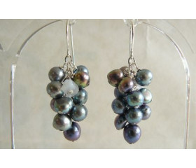 Grey Pearl Cluster Drop Earrings