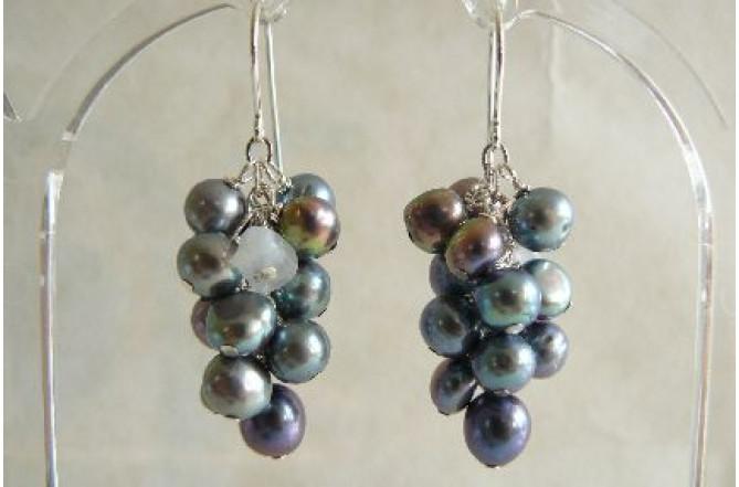Grey Pearl Cluster Drop Earrings