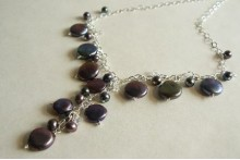 Grey Coin Pearl Charm Necklace with Drop On Silver Chain