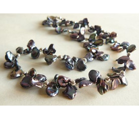 Grey Large Keshi Pearl Necklace