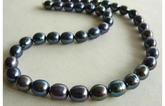Grey Large Oval Pearl Necklace