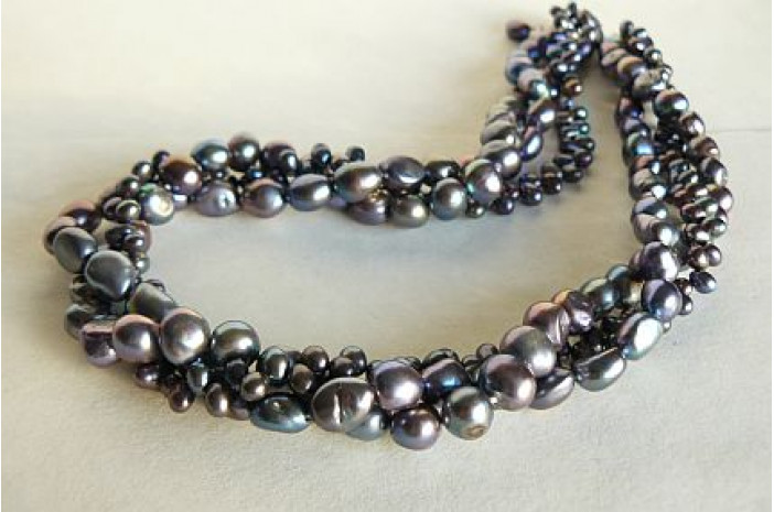 Grey Mixed Pearl Three Strand Twisted Necklace