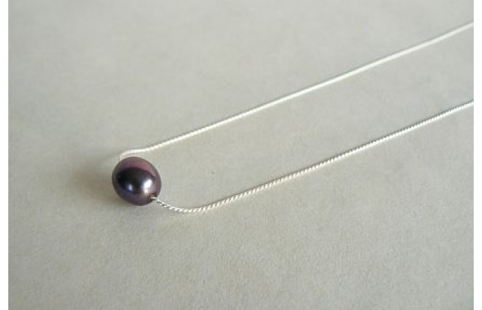 Single Grey Pearl on Fine Silver Chain Necklace
