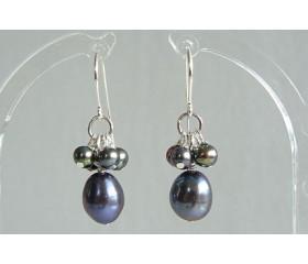 Grey Oval Pearl & Cluster Drop Earrings