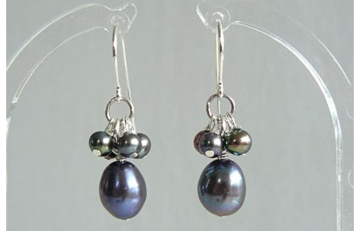 Grey Oval Pearl & Cluster Drop Earrings