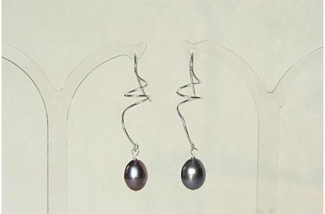 Grey Pearl Sterling Silver Spiral Drop Earrings