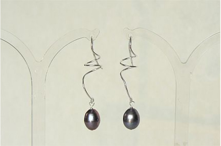 Grey Pearl Sterling Silver Spiral Drop Earrings