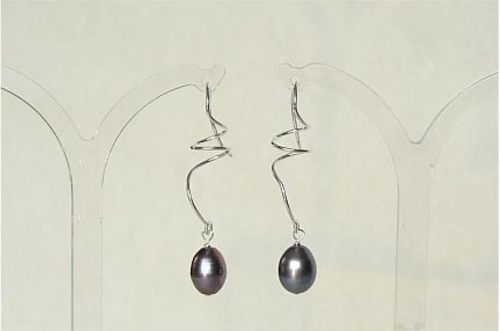 Pearl & Sterling Silver Spiral Drop Earrings