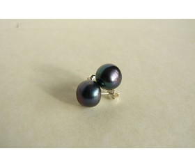 Grey Pearl Stud Earrings - Large