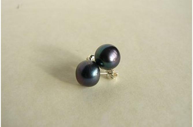 Grey Pearl Stud Earrings - Large