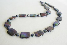 Grey Rectangle Pearl Necklace