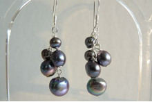 Grey Pearl Small Cluster Drop Earrings