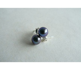 Grey Pearl Stud Earrings - Small